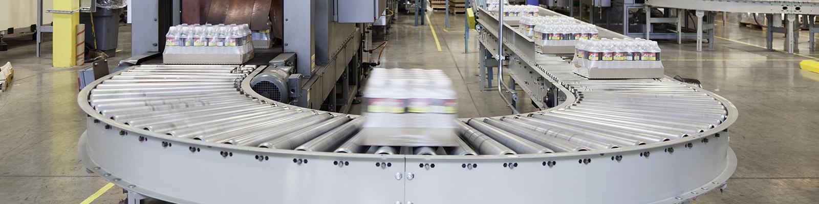 Products on conveyor belt